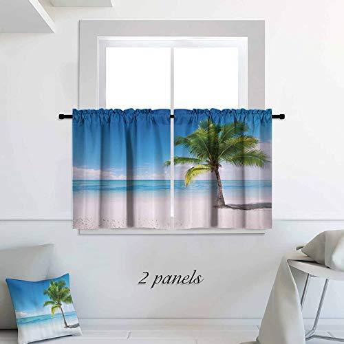 ScottDecor Landscape Blackout Tiers Caribbean Maldives Beach Island Sea Ocean Palm Trees Artwork Print Print Rod Pocket Small Window Curtain for Bathroom 30 x 54 inch