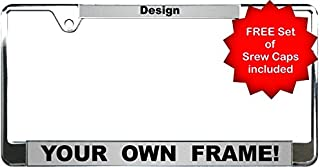 Custom Personalized Thin Top | Narrow Top Chrome Metal Car License Plate Frame with Free caps - Silver/Black