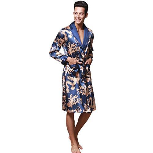 WanYangg Albornoz Kimonos Pijama para Hombre Largo Camisón Robe Bata Ropa De Dormir Satín Bata De Baño Dragón De Impresión Seda De Imitación Azul Real 2XL