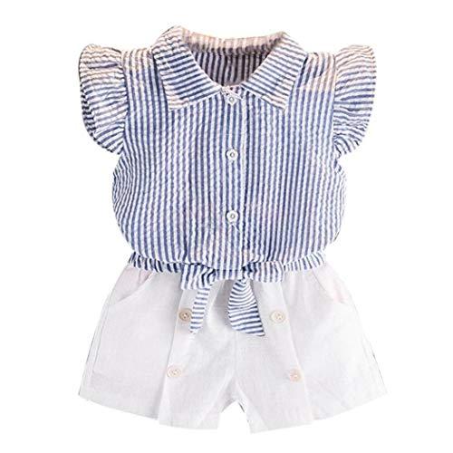 Hunpta Kleinkind Kids Baby Mädchen Streifen T Shirt Tops + Shorts Hosen Outfit Kleiderset