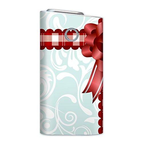 glo グロー グロウ 専用スキンシール 裏表2枚セット カバー ケース 保護 フィルム ステッカー デコ アクセサリー 電子たばこ タバコ 煙草 喫煙具 デザイン おしゃれ glow ラブリー リボン プレゼント 赤 005051