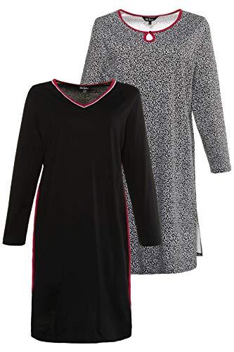 Ulla Popken Damen Big-Shirt 2er Pack, Blätter Nachthemd, Schwarz (Schwarz 10), (Herstellergröße: 46+)