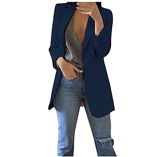 Womens Blazers for Work Professional Slim Fit Casual Print One Button Blazer Jackets Open Front Cardigan for Women Navy