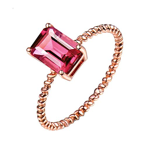 AmDxD 18K Rose Gold Engagement Ring, Anniversary Ring Bands for Women Twisted Design 4 Claws Rectangle Tourmaline 1.2ct, Rose Gold Size S 1/2