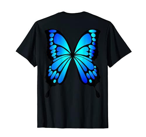 Disfraz de Halloween lindo alas de mariposa azul en la parte posterior Camiseta