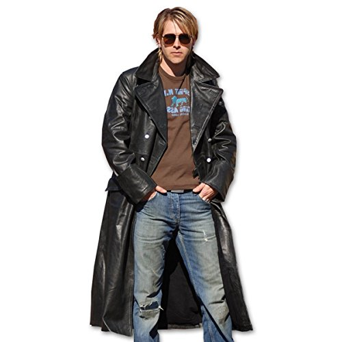 Mil-Tec German Officer Black Leather Great Coat, Size- 42 inch