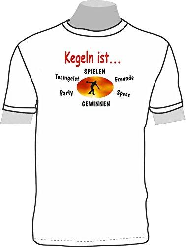 Kegeln ist. Freunde, Spaß, Party, gewinnen, Spiel; T-Shirt weiß, 52/54; Gr. XXL; Damen