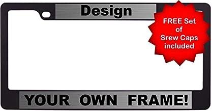 Custom Personalized Flat Shape Black Metal Car License Plate Frame with Free caps - Steel/Black