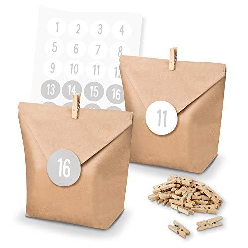 itenga Calendrier de l'Avent Kit de bricolage I 24 sachets cadeaux en papier I Pinces en bois I Autocollants avec les chiffres de 1 à 24 en gris clair et blanc