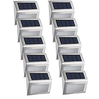 Easternstar Solar Step Lights 3 LED Outdoor Fence Deck Waterproof Stainless Steel Lamp