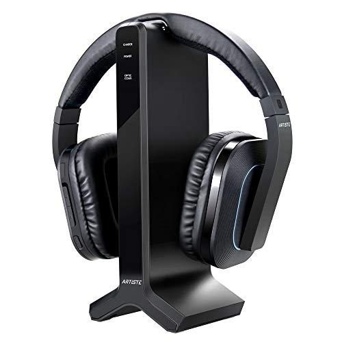Funkkopfhörer für Fernseher Kabellos, ARTISTE Digital Optisch Over-Ear TV Kopfhörer Kabellos mit Ladestation/Stand, Plug & Play, 30 m Große Reichweite, 20 Std.