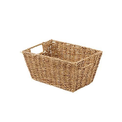 Artera Seagrass Storage Baskets, Wicker Shelf Baskets with Built-in Handles, 12'x9'x6', Pack 1