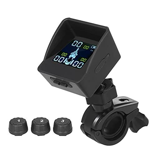 Fesjoy Sistema de monitoreo de presión de Llantas TPMS Monitor de Llantas Inteligente inalámbrico con 3 sensores externos Sombrilla Alarma automática de Llantas para Triciclo de 3 Ruedas