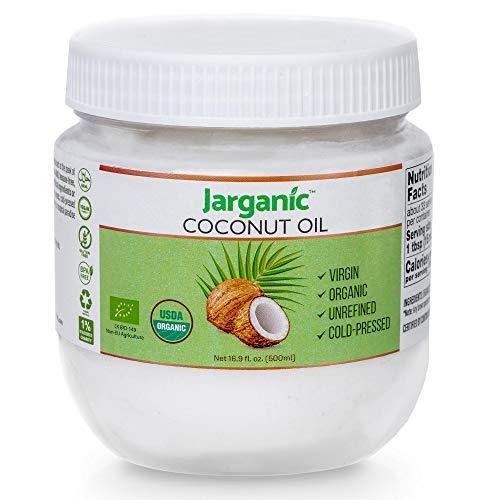 Aceite de Coco Virgen Extra Orgánico Bio 500 ml – Aceite de Coco Prensado en Frío sin Refinar para Piel, Cabello y Cocinar – Jarganic