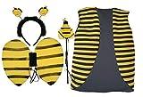 Chaleco de abeja para niños y 3 piezas, juego de alas de insectos y naturaleza, disfraz [edad 4-7]