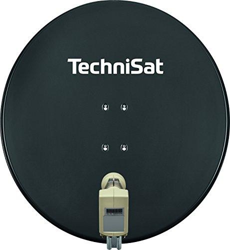 TechniSat SATMAN 850 PLUS - Satellitenschüssel für 4 Teilnehmer  (85 cm Sat Spiegel mit Masthalterung und 40mm Universal-Quattro-Switch-LNB) grau