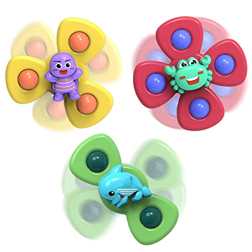 MEITING 3PC Baby Spinning Tops Toy Animal Suction Cup Turntable Stress Relief Windmill Cup Baby Bath Toys Children's Animal Sucker Rotating Baby Dining Chair Comfort Toy