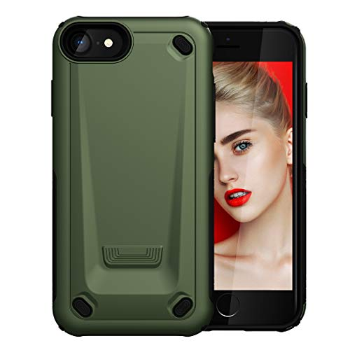 Wckxy Funda telefónica for iPhone 8 y 7 TPU Ultrafino TPU + PC Funda Protectora a Prueba de Golpes (Ejército Verde) (Color : Gold)