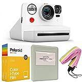 Polaroid Now i-Type - Cámara de fotos para i-Type, color blanco + Polaroid, paquete doble, álbum gris + correa para el cuello colorida