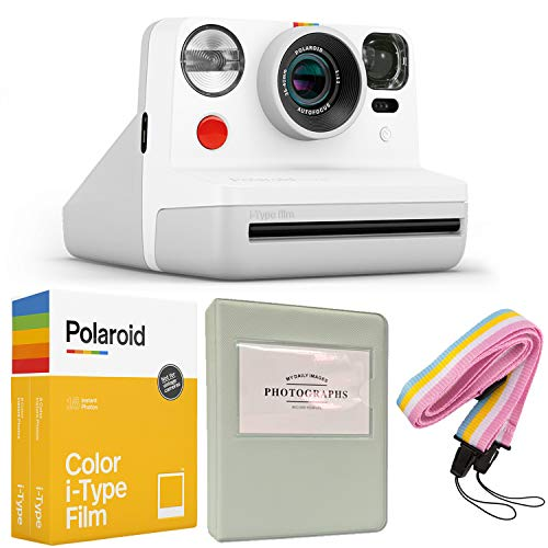 Polaroid Now i-Type Instant Camera - White + Polaroid Color Film for i-Type - Double Pack + Grey Album + Colorful Neck Strap