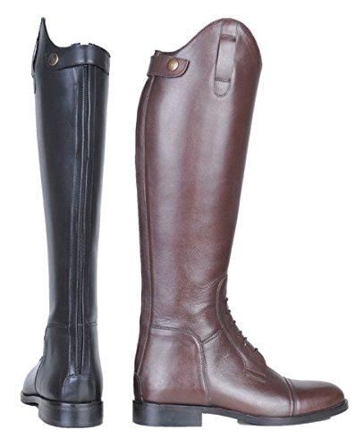 Hkm–Botas de equitación Spain Soft Piel Largo/Alcance estrechas Negro Negro Talla:43 EU