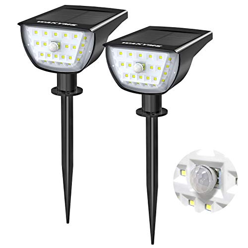 WAKYME 26 LED Solar Motion Sensor Landscape Spotlight, 2-in-1 Solar Wall Light IP65 Waterproof 3 Modes Solar Path Light Outdoor for Yard Garden Porch Walkway Driveway Pool Patio Cool White 2 Pack
