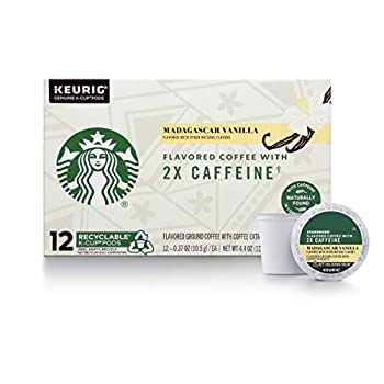 Starbucks Flavored K-Cup Coffee Pods with 2X Caffeine — Madagascar Vanilla for Keurig Brewers —  12 Count  Pack of 4