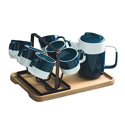 XJAXY Conjunto de café Té, Juego de té Tree Tea Piece Ceramic Coffee Set Tea Tea Tea Coffee Tea Tea Conjunto De Café, 900ml / Pot, 210ml / Copa, Tazas De Té con Soporte De Metal Y Bandeja De Servicio