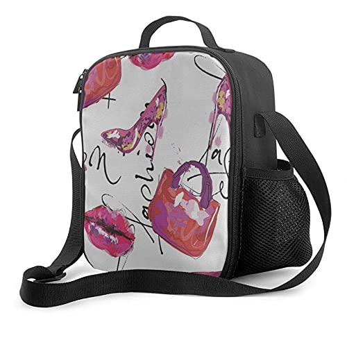 Bolsa de almuerzo aislada Acuarela Zapatos de moda para mujer Bolso Fiambrera abierta de par en par para trabajo, picnic, senderismo, playa, pesca, resistente al agua Bolsa de almuerzo a prueba de fu