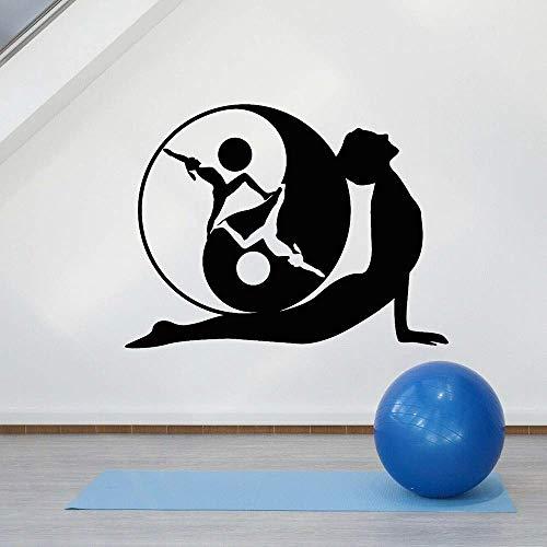 Física Matemáticas Aprendizaje Inspirador Etiqueta De La Pared Vinilo Etiqueta De La Pared Yoga Pose Yin Yang Símbolo Meditación Yoga Estudio Decoración 75X57Cm