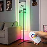 DENGALA Corner Floor Lamp RGB Color Changing Minimalist Corner Lamp 56' Modern Style Decor Tall Lamp Dimmable LED Floor Lamp with Remote Control for Gaming Room, Living Room, Bed Room 20W - Black
