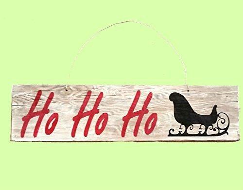 Norma Lily 11,4x 43,2cm Einfach und weiß Washed Rot rustikal Ho Ho Ho Weihnachten Schlitten Schild auf Holz Schild