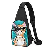 ボディバッグ ワンショルダー 斜めがけバッグ コーヒーの猫 プリント ワンショルダーバッグ ボディーバッグ メンズ レディース 軽量 大容量 通勤通学旅行