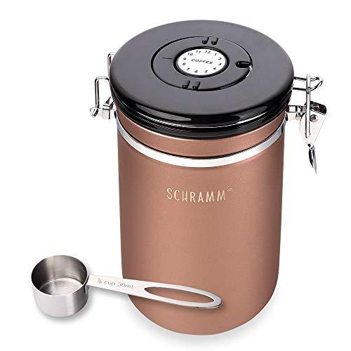 Schramm® Kaffeedose 1800 ml in 10 Farben mit Dosierlöffel Höhe: 18cm Kaffeedosen Kaffeebehälter aus Edelstahl, Farbe:Bronze