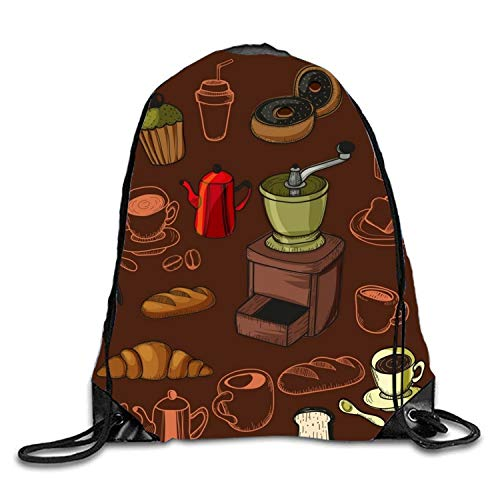 Lawenp Doodle Coffee Pattern Sackpack Mochila con cordón Mochila Impermeable Gymsack Daypack para Hombres y Mujeres