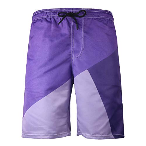 Fanteecy Men's Quick Dry Swim Trunks Long Elastic Waistband Swimwear Bathing Suits Sportwear Board Shorts with Pockets Purple