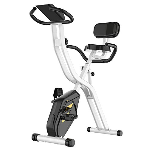 HLEZ Bicicleta Estática Plegable, Bicicleta Fitness Entrenador Plegable Indoor 8 Niveles de Resistencia Magnética Sensor de Pulso 110 kg Máx,Negro