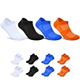 TUUHAW Sneaker Socken Herren Damen 8 Paar Gepolsterte Laufsocken Baumwolle Atmungsaktiv Sportsocken 35-50 Schwarz Weiß Blau Orange 47-50