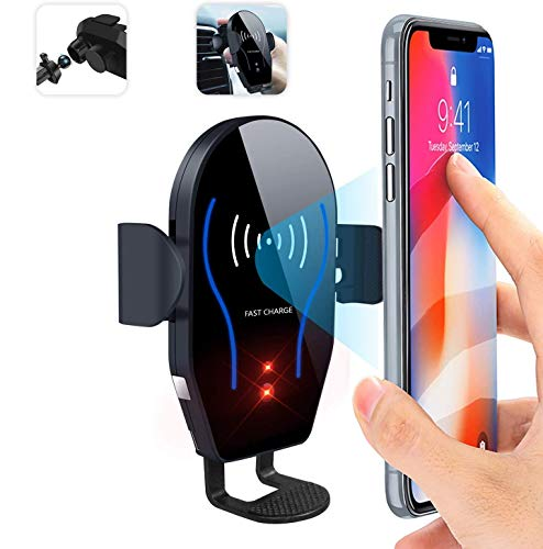 【2020最新版赤外線車載ワイヤレス充電器】DFVEY 車載Qi赤外線センサー自動開閉 携帯スタンド 車載スマホホルダー 赤外線センサー自動開閉 粘着式&吹き出し口2方法取り付 iPhone/Galaxy/Edge/Nexus等に対応