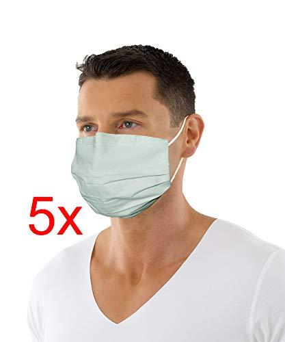 ALBERT KREUZ 5er Pack Wiederverwendbare Mund-Nasen-Maske antibakteriell wasserabweisend zweilagig mit Nasenbügel und weichen Ohrenschlaufen Mint oder Weiß