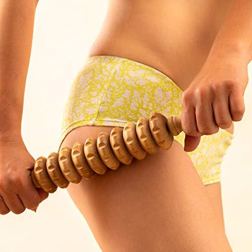 Tuuli Accessories Anti Cellulite Massage Disk Massagegerät Massageroller Roller mit Griff Maderotherapie aus Holz 40 cm