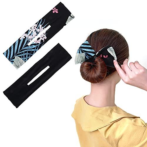 Deft Dutt - Bun Twister Bogen Classy Mehrfarbiger Cloth Magic Clip,Magic Hair Bun Maker French Twist Haarknotenmacher für Haarknoten