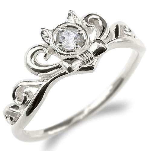 [アトラス]Atrus リング レディース sv925 スターリングシルバー ダイヤモンド ネコ ティアラ リボン エンゲージリング 指輪 16号