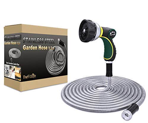 TheFitLife Flexible Metal Garden Hose - 25/50/75/100 FT 304 Stainless Steel Water Hose with Newest Spray Nozzle and Solid Metal Fittings, Lightweight, Kink Free, Durable and Easy to Store (100 Feet)