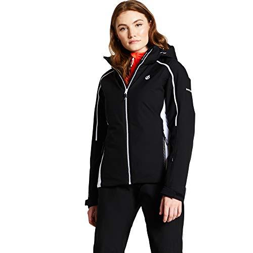 Dare 2b Damen Comity Waterproof & Breathable High Loft Insulated Ski & Snowboard Jacket with Foldaway Hood and Fixed Snowskirt wasserdichte, isolierte Jacken, Schwarz, 18