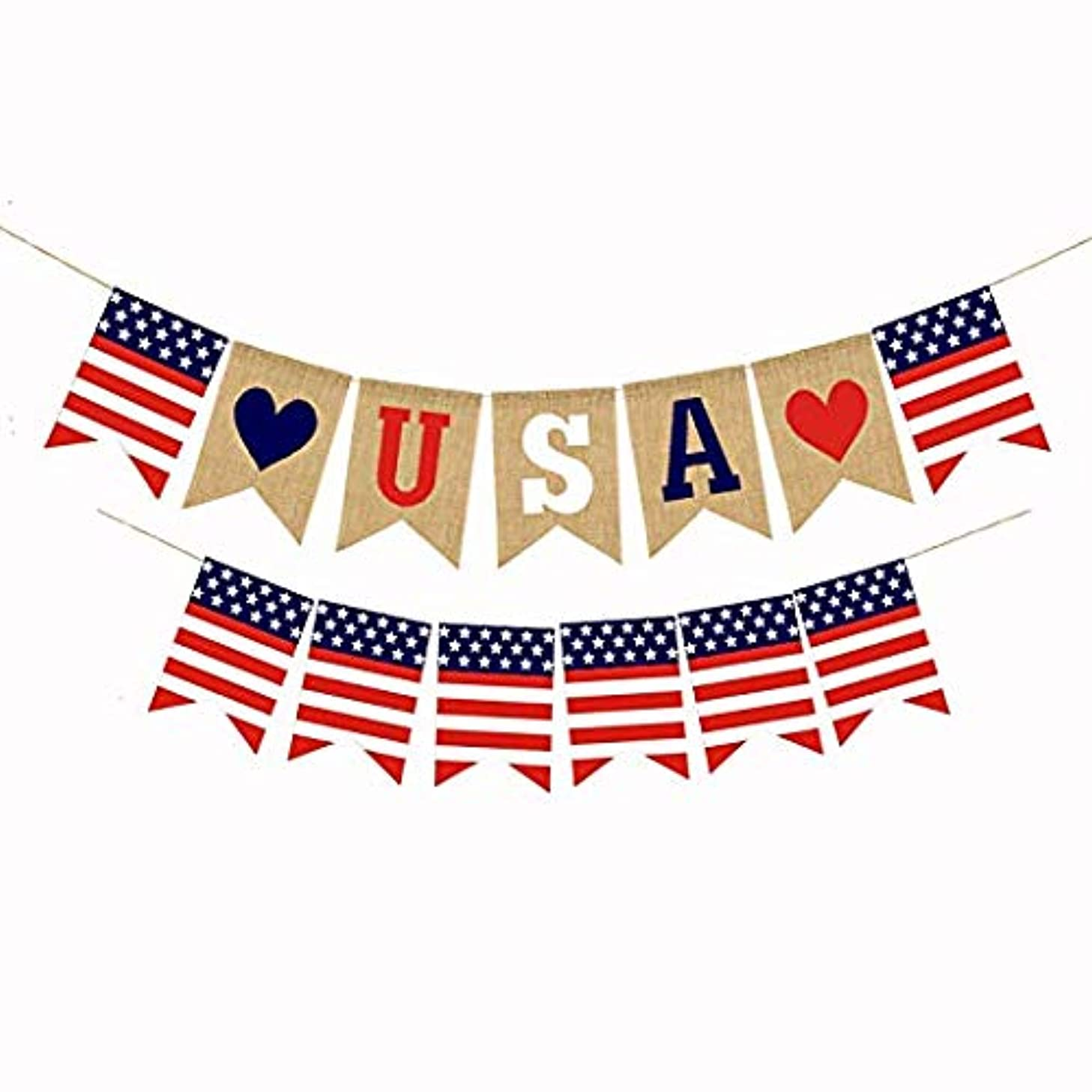 American Burlap Bunting 4th of July Banner Independence Day Decoration White and Blue Stars Banner for 4th of July Décor (TypeB)