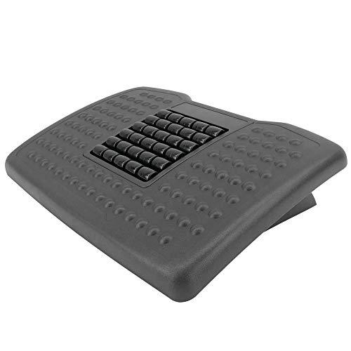 PrimeMatik - Reposapiés con Plataforma Ajustable de plástico Negro 455 x 330 mm con Masaje