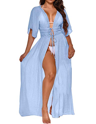 FANCYINN Copricostumi e Parei Costume da Bagno Abito da Spiaggia Bikini Cover Up Maniche Corte in Kimono Blu XL