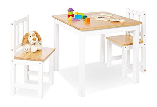 Pinolino Kindersitzgruppe Fenna, aus massivem Holz, 3-teilig, 2 Stühle und 1 Tisch, für Kinder ab 2 Jahren, weiß und klar lackiert
