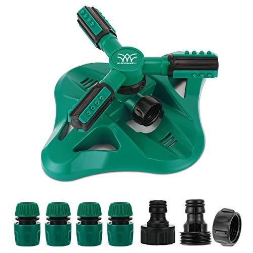 WISDOMWELL Gartensprinkler mit einstellbarem Wassersprühbereich, geeignet für große Rasenflächen, automatisch, um 360 Grad drehbar, 3 Arme, Sprinklersystem (1 Sprinkler und 6 Anschlüsse)